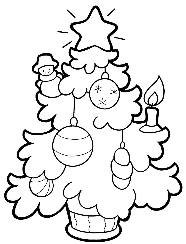 новорічні розмальовки, ялинка