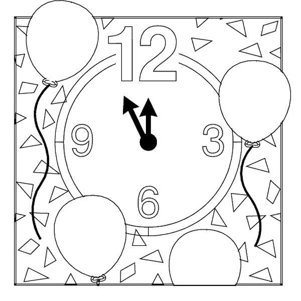 новорічні розмальовки, годинник
