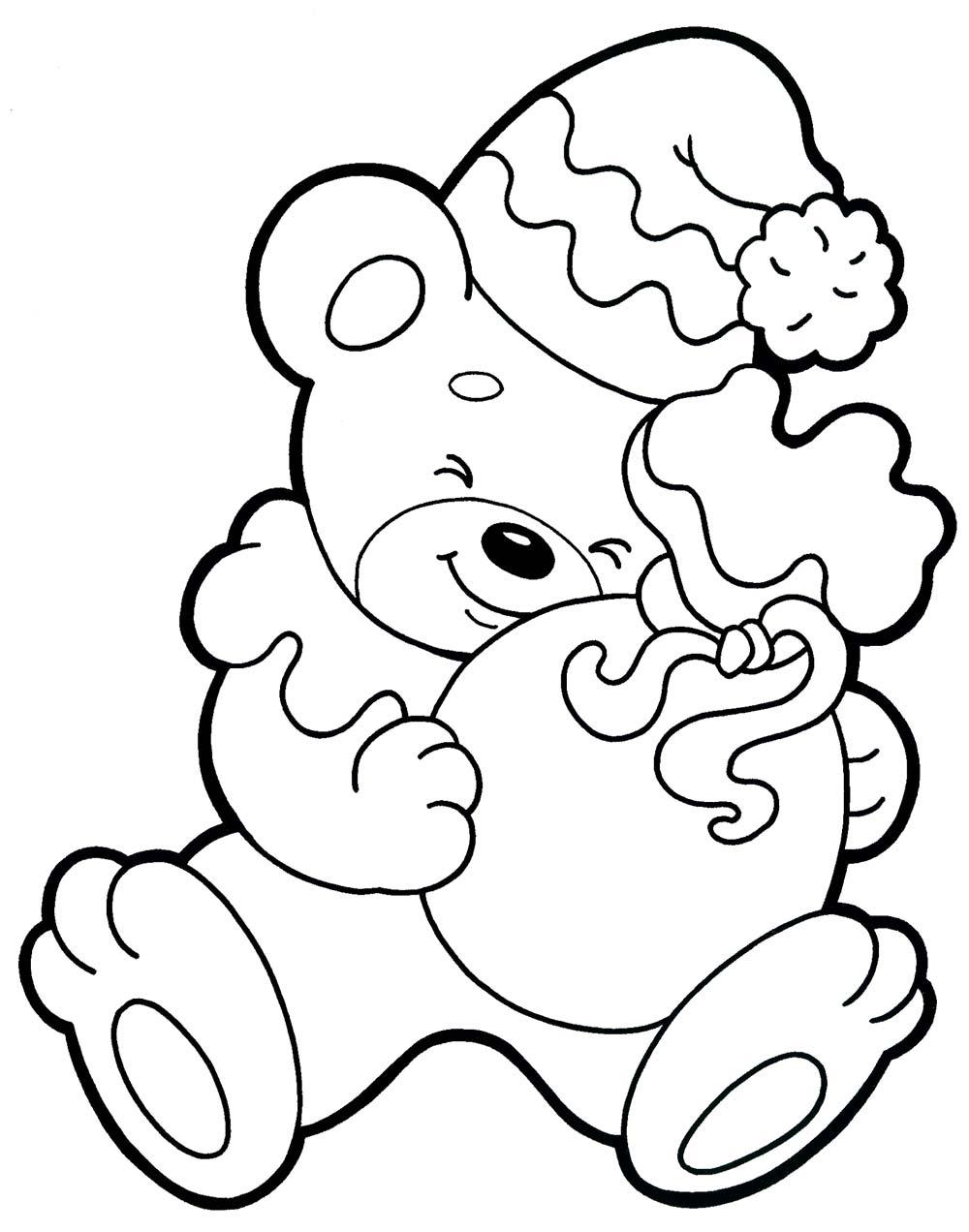 новорічні розмальовки, ведмедик