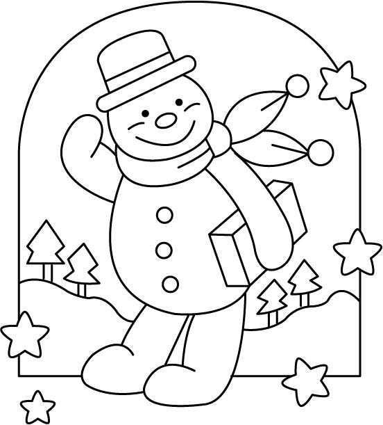 новорічні розмальовки, сніговик