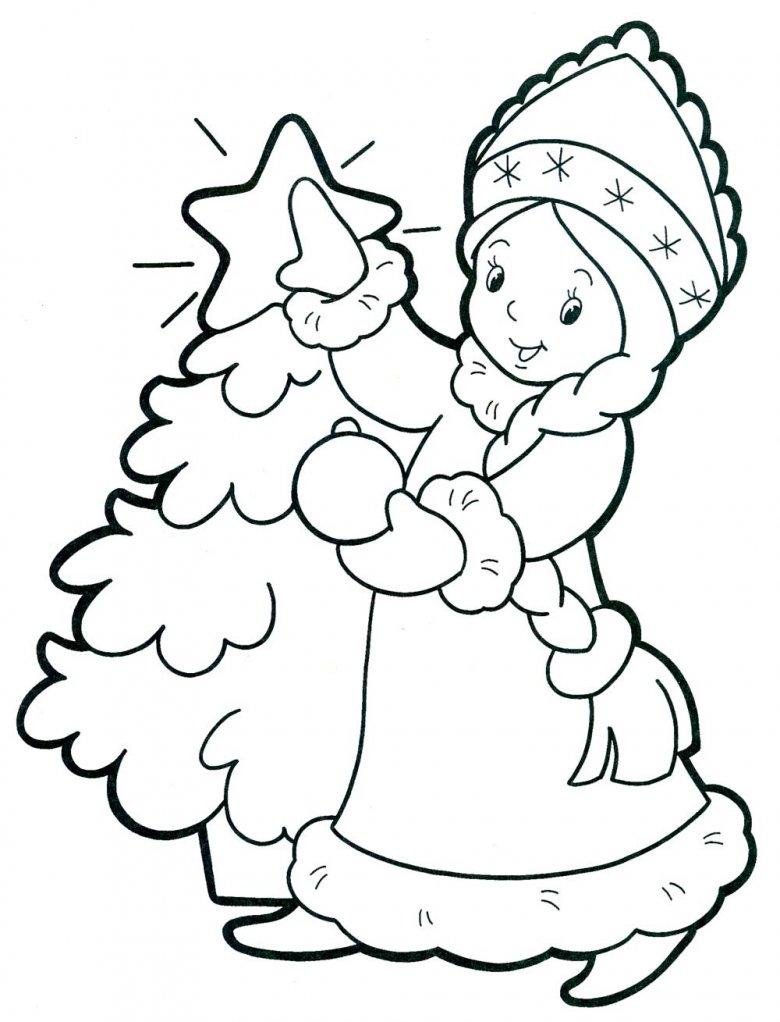 новорічні розмальовки, снігуронька