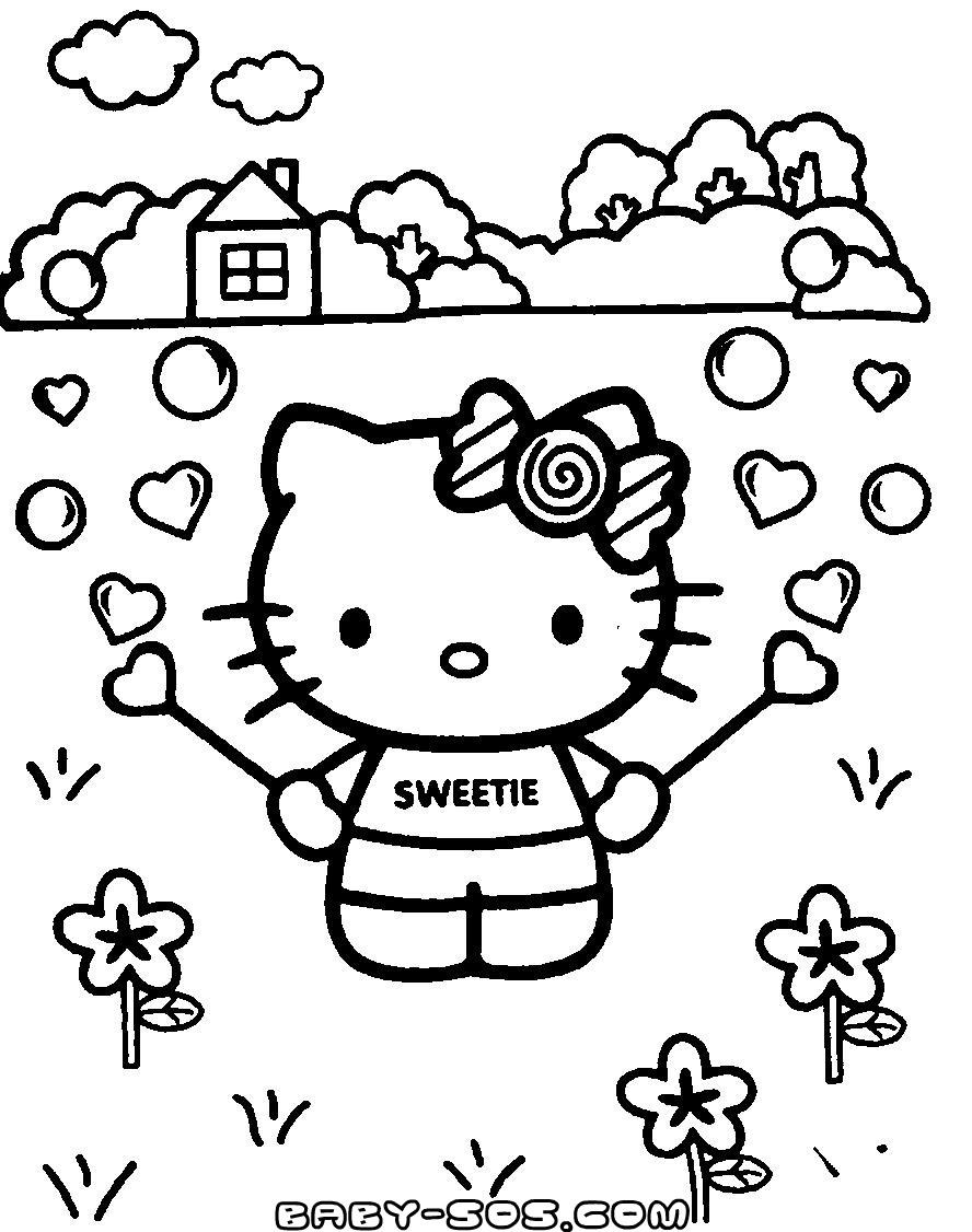 розмальовки для дівчинки, киця Kitty, розмальовки для дітей від одного року