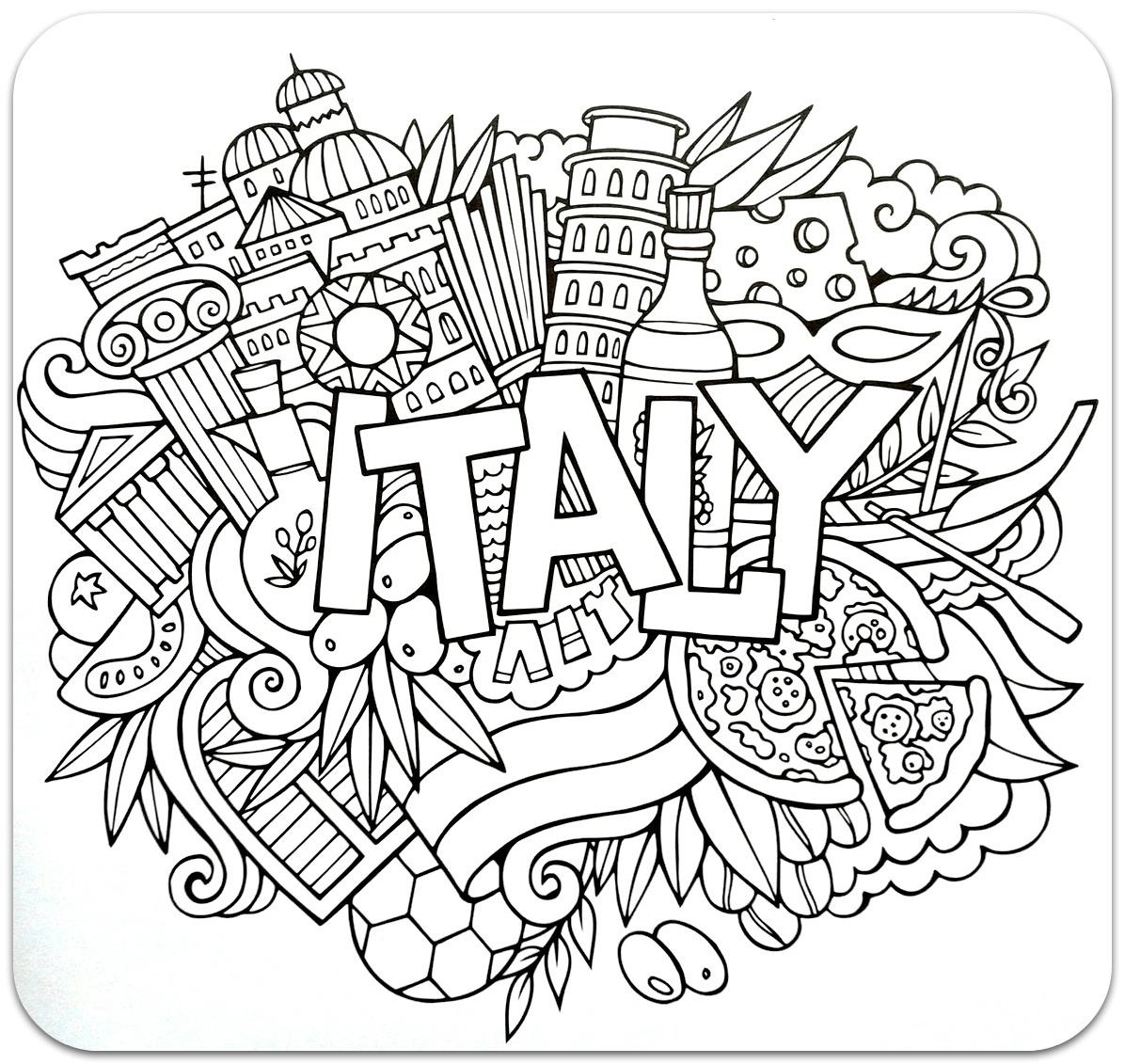 розмальовки для дорослих, розмальовки антистрес, країни, подорож, раскраски антистресс, страны, італія