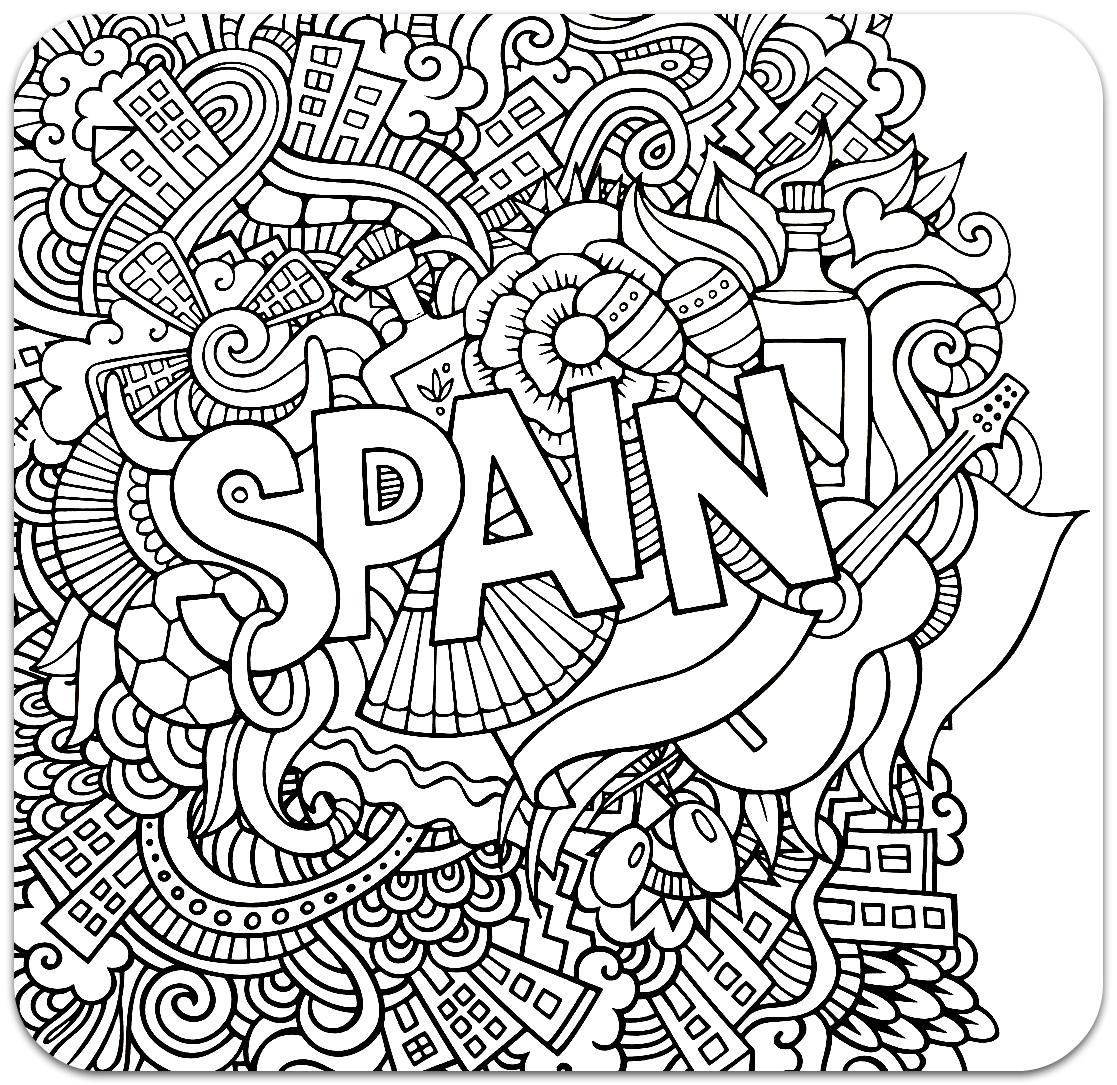 розмальовки для дорослих, розмальовки антистрес, країни, подорож, раскраски антистресс, страны, іспанія