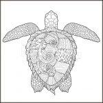 розмальовки для дорослих, розмальовки антистрес, тварини, подорож, сложные раскраски антистресс, животные, черепаха,
