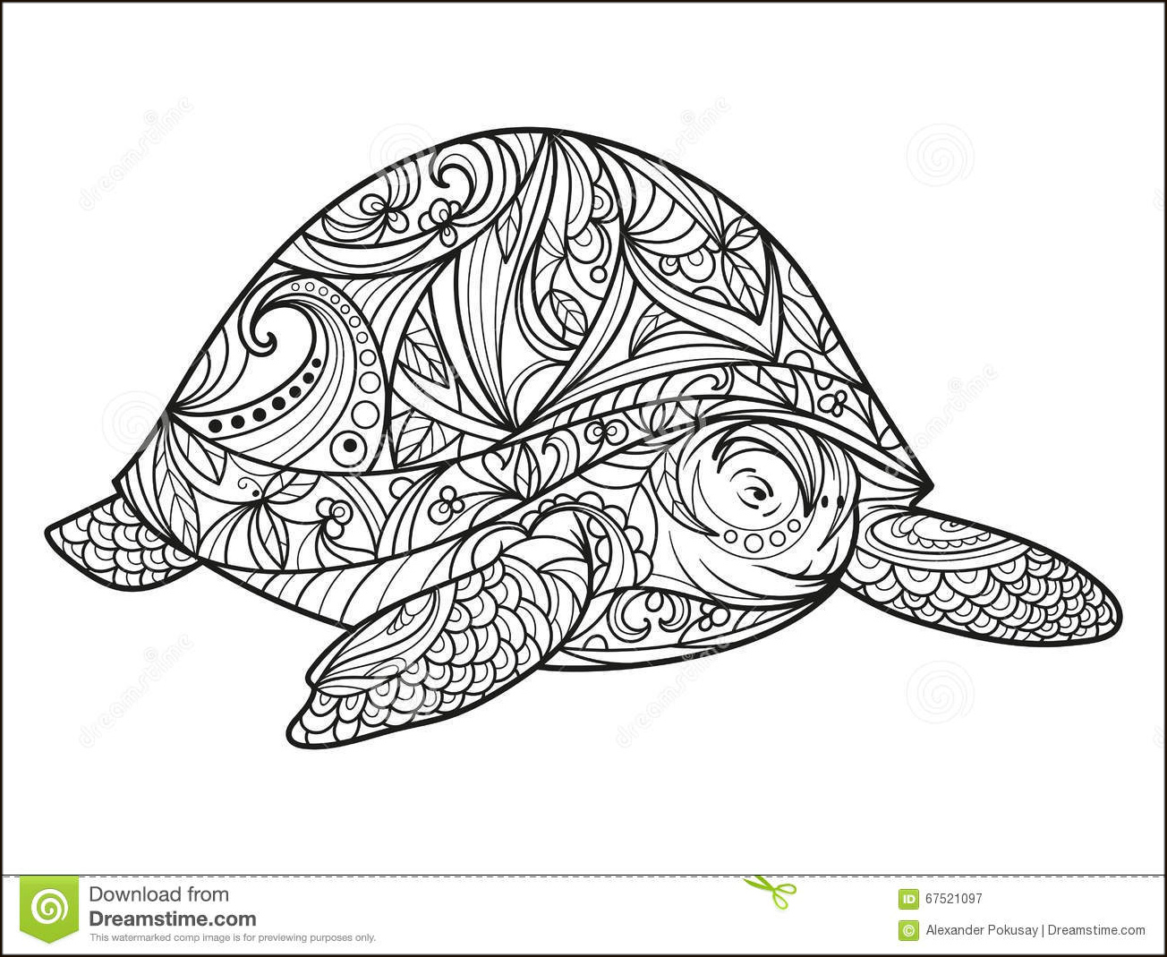 Coloring Antistress Animals Turtle