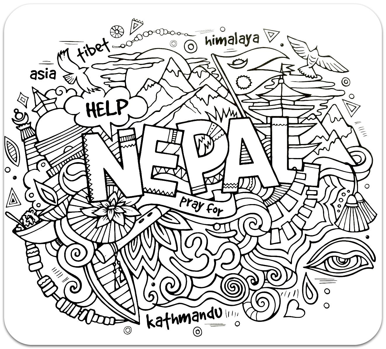 розмальовки для дорослих, розмальовки антистрес, країни, подорож,  сложные раскраски антистресс, страны, путешествия, непал