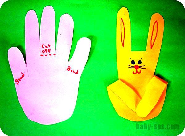 кролик из бумаги легкая детская поделка