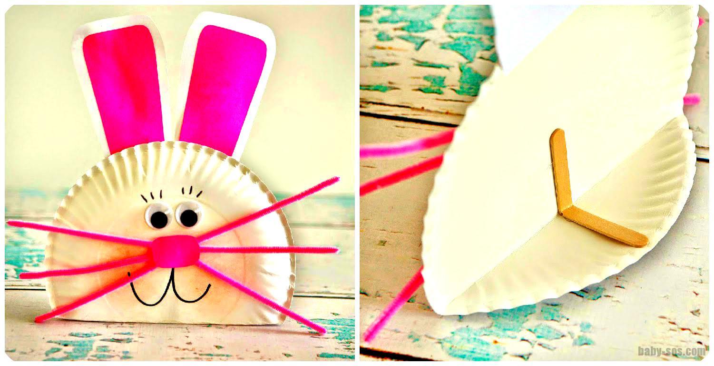 кролик из бумажной тарелки поделки к пасхе