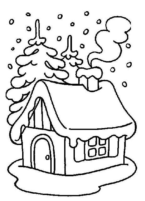 Christmas Coloring, house in snow