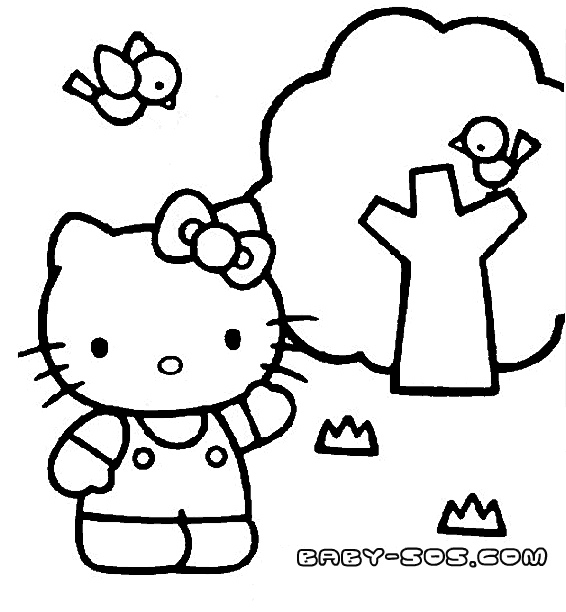 Coloring for girls, Kitty kitty, Coloring for children from one year