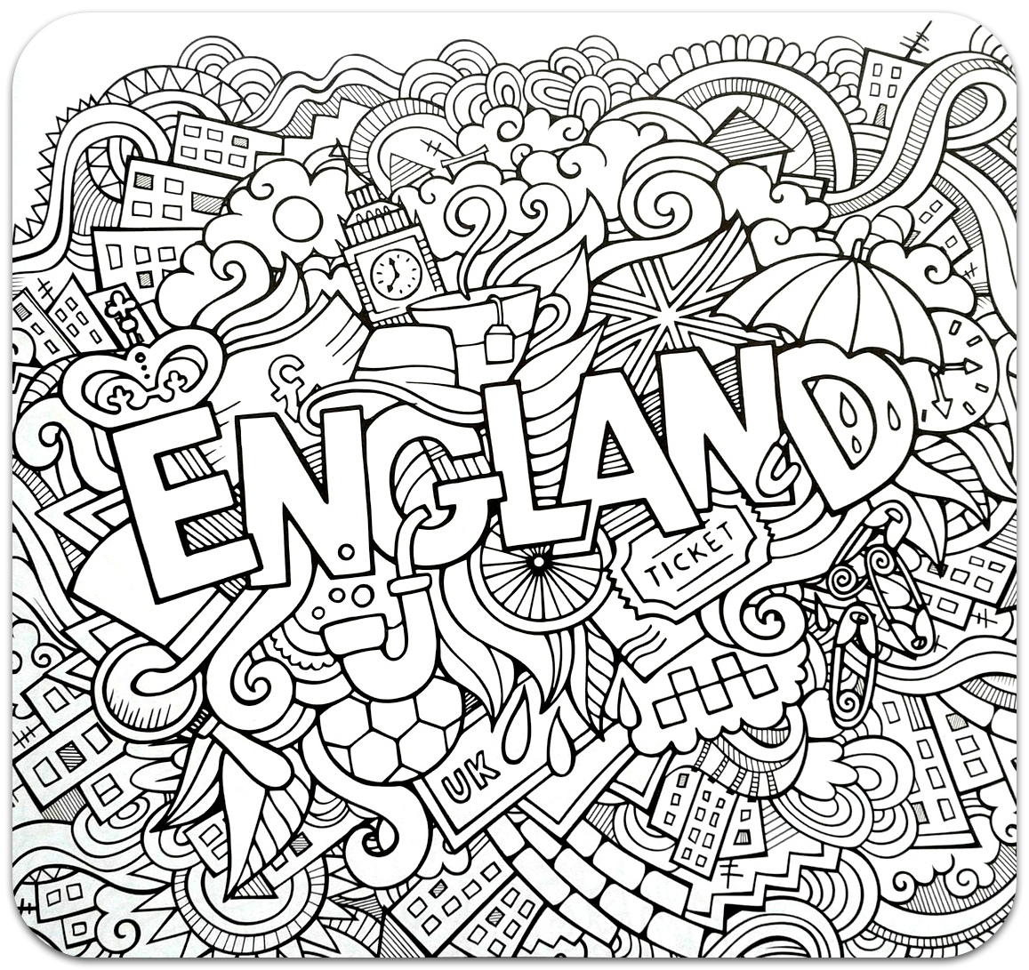 Coloring for adults, Coloring Antistress, країни, travel, raskraski antistress, страны, Englandcountries