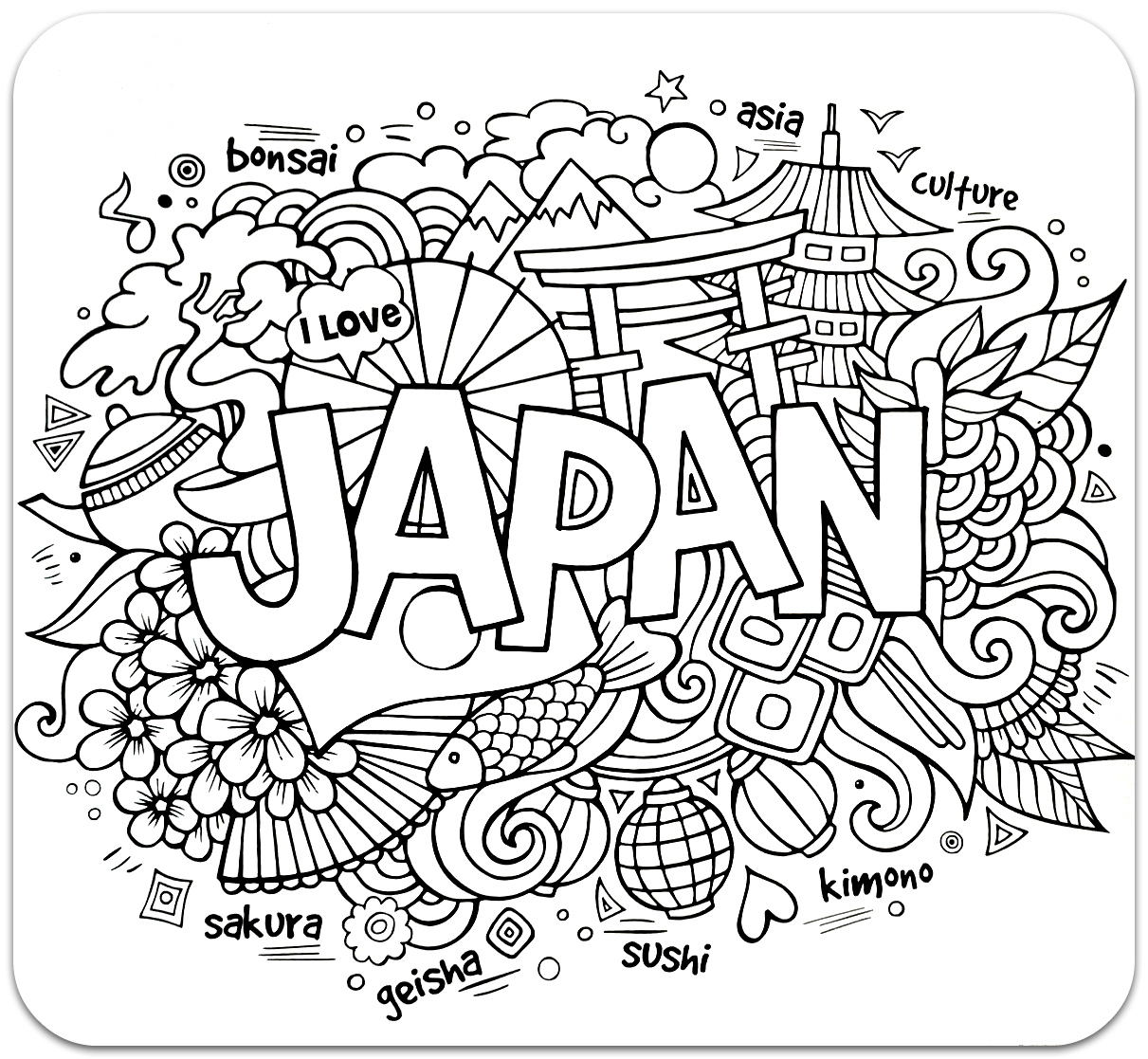 Coloring for adults, Coloring Antistress, країни, travel, raskraski antistress, страны, Japancountries