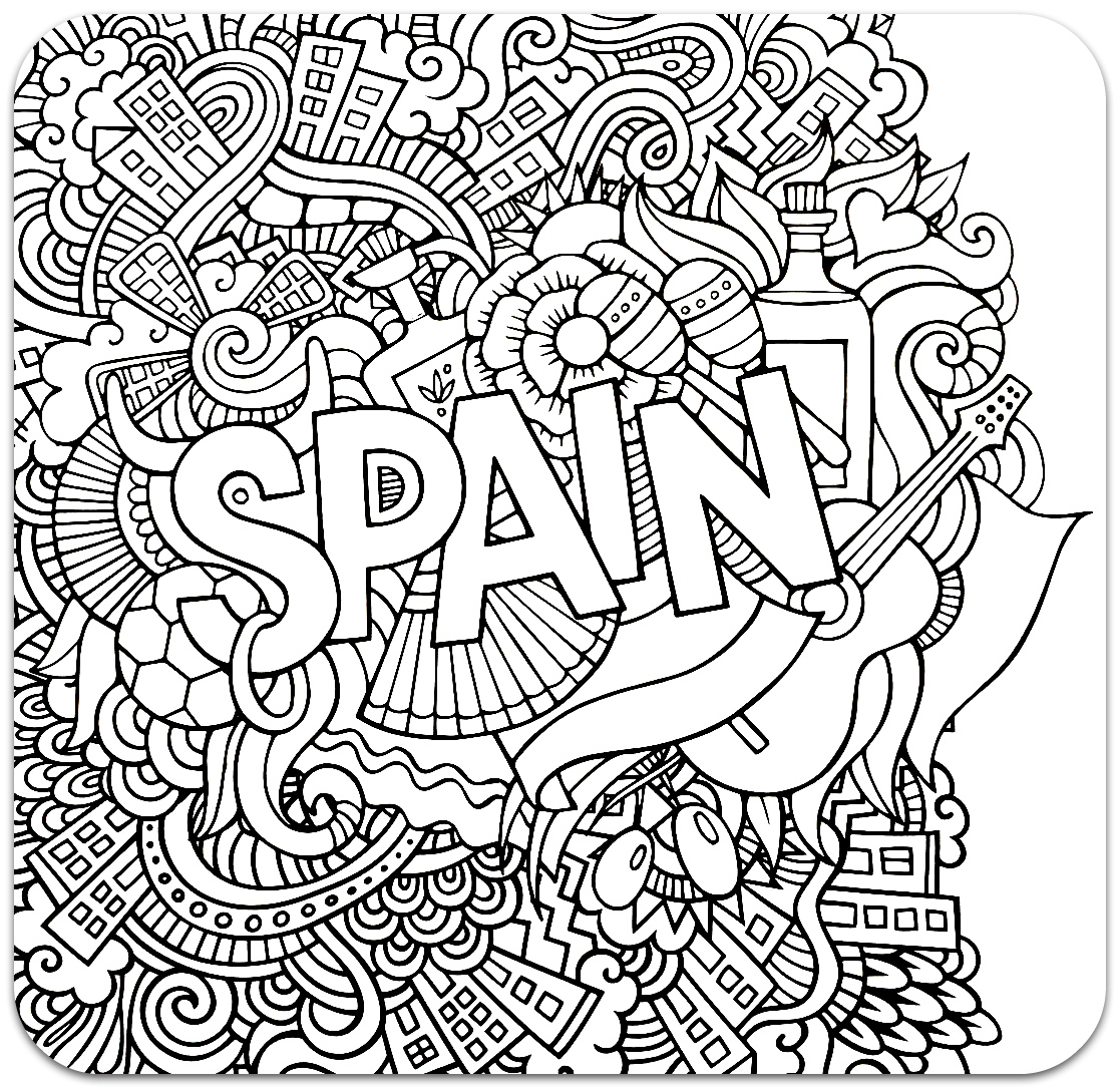 Coloring for adults, Coloring Antistress, країни, travel, raskraski antistress, страны, Spaincountries