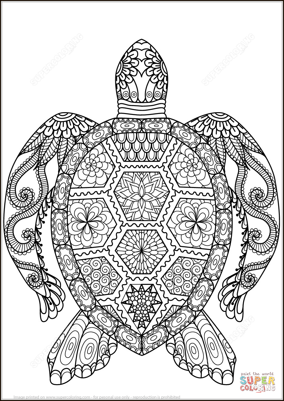 Coloring for adults, Coloring Antistress, тварини, travel, sophisticated coloring antistress,  животные, turtle,animals