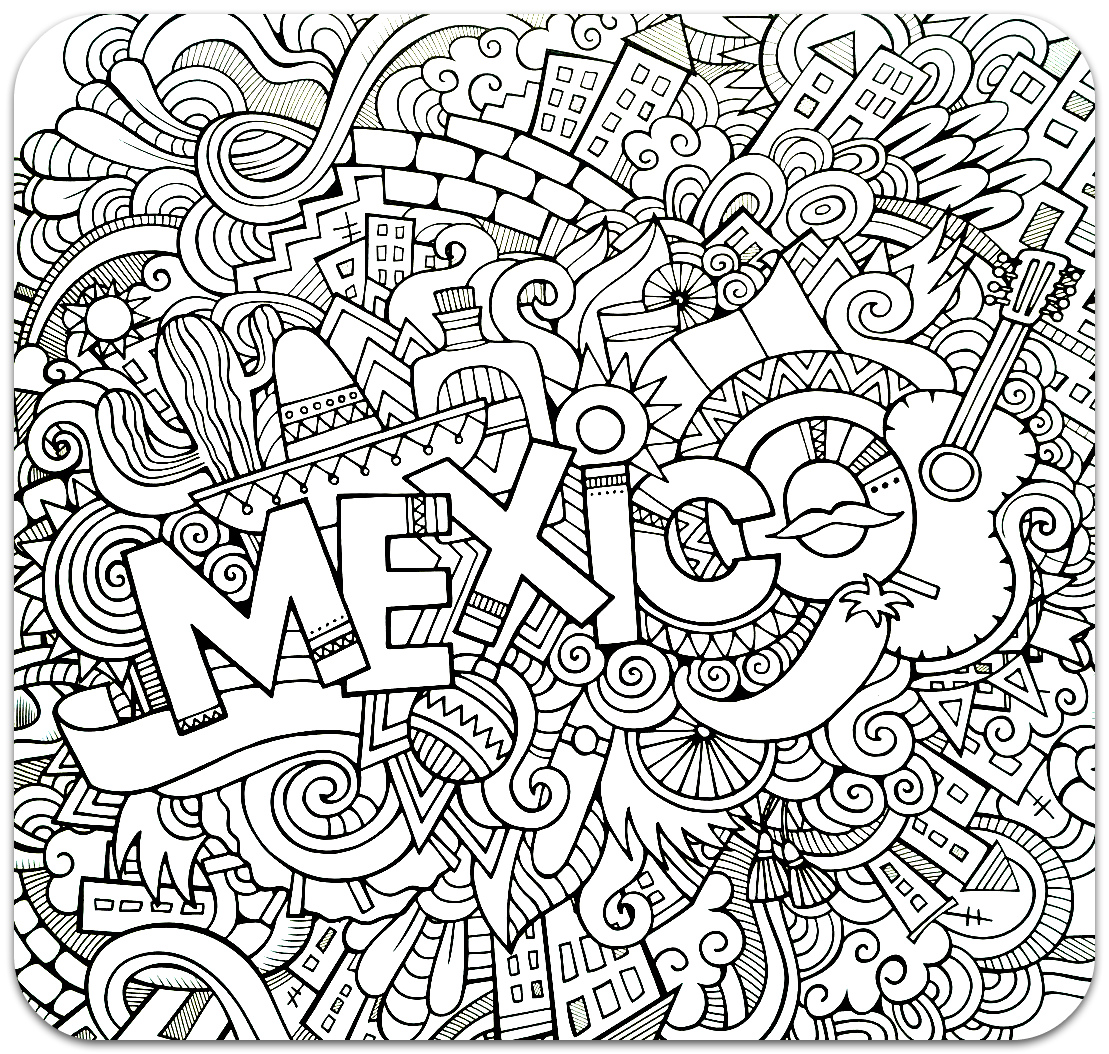 Coloring for adults, Coloring Antistress, країни, travel,  sophisticated coloring antistress, страны, travels, Mexicocountries