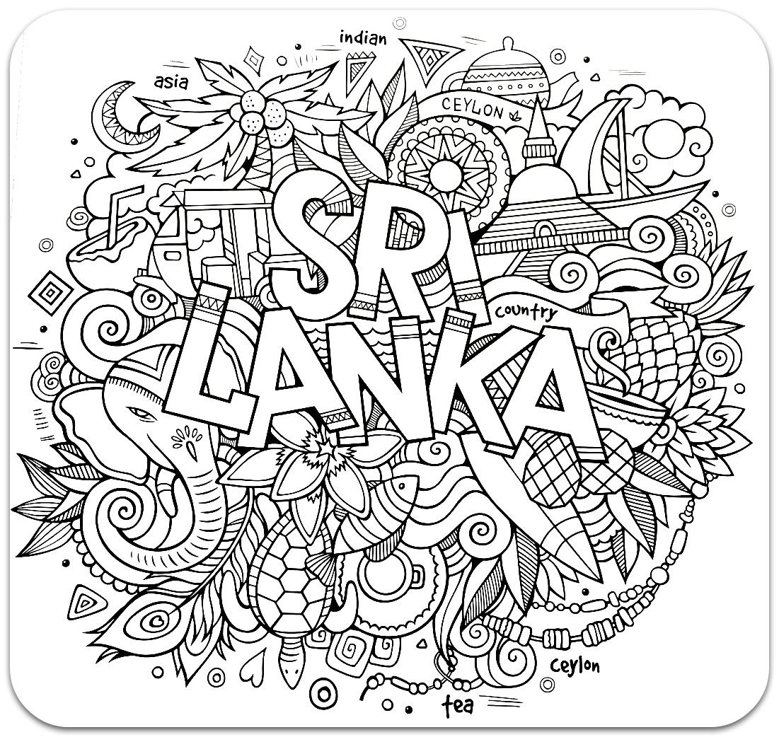 раскраски для взрослых, раскраски антистресс, країни, путешествие,  сложные раскраски антистрстраныраны, путешествия, Шри Ланка
