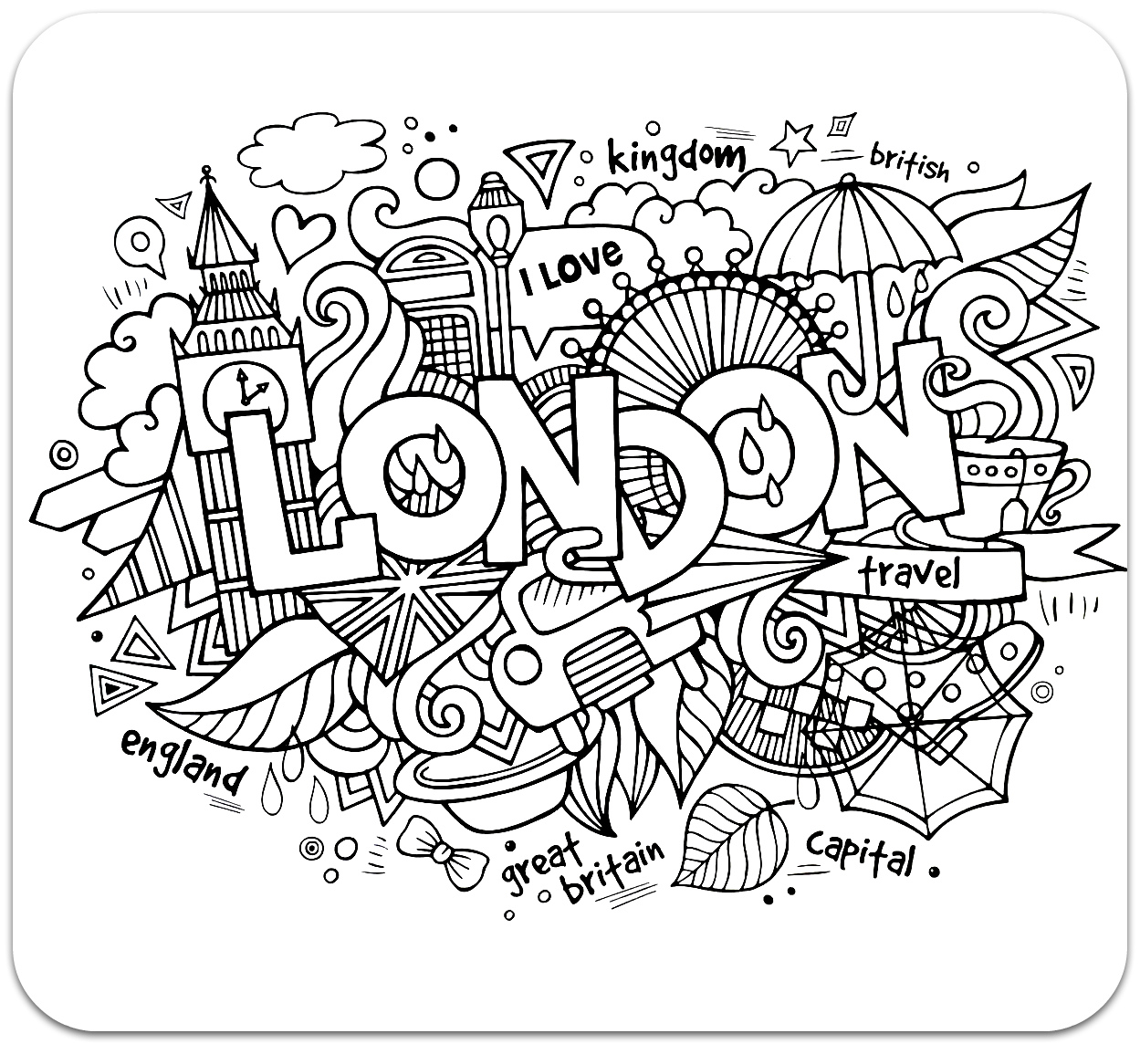 Coloring for adults, Coloring Antistress, країни, travel,  sophisticated coloring antistress, страны, travels, Londoncountries