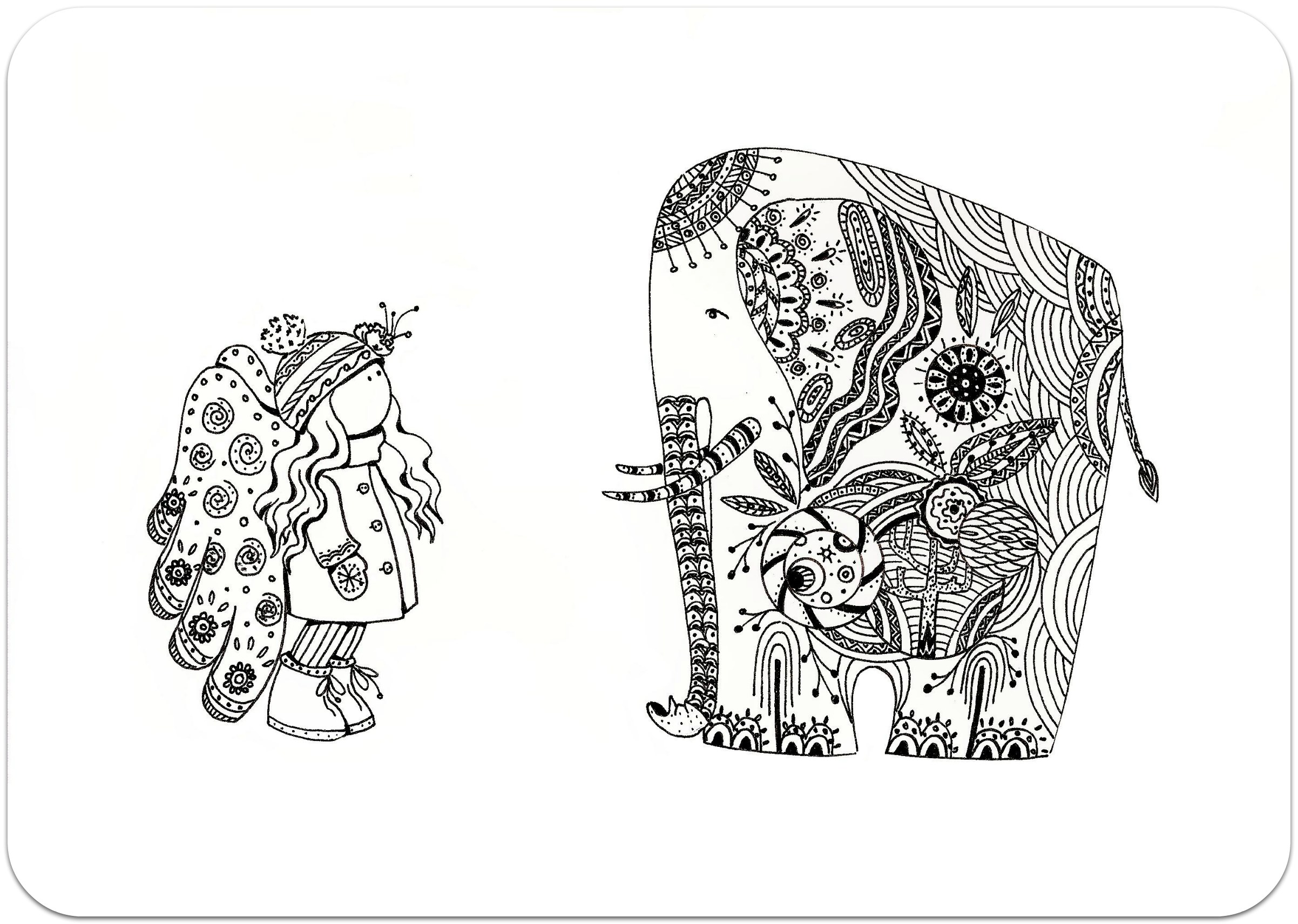 раскраски для взрослых, раскраски антистресс, тварини, путешествие, сложные раскраски антистрживотныетные, слон