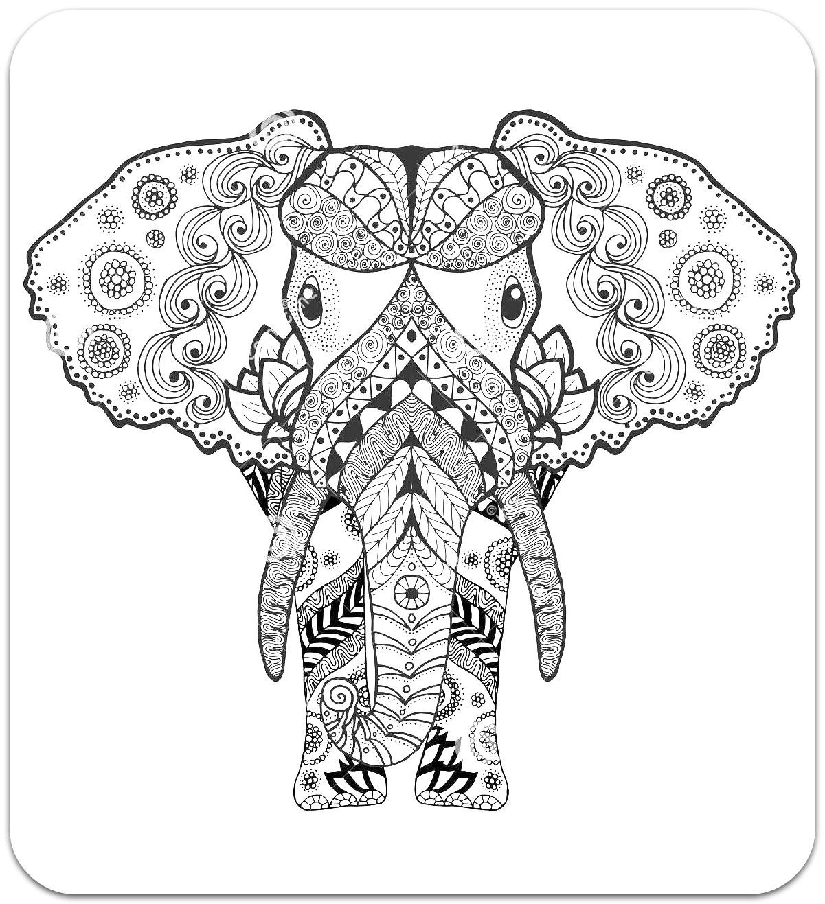 Раскраски-антистресс. Животные (Слон)