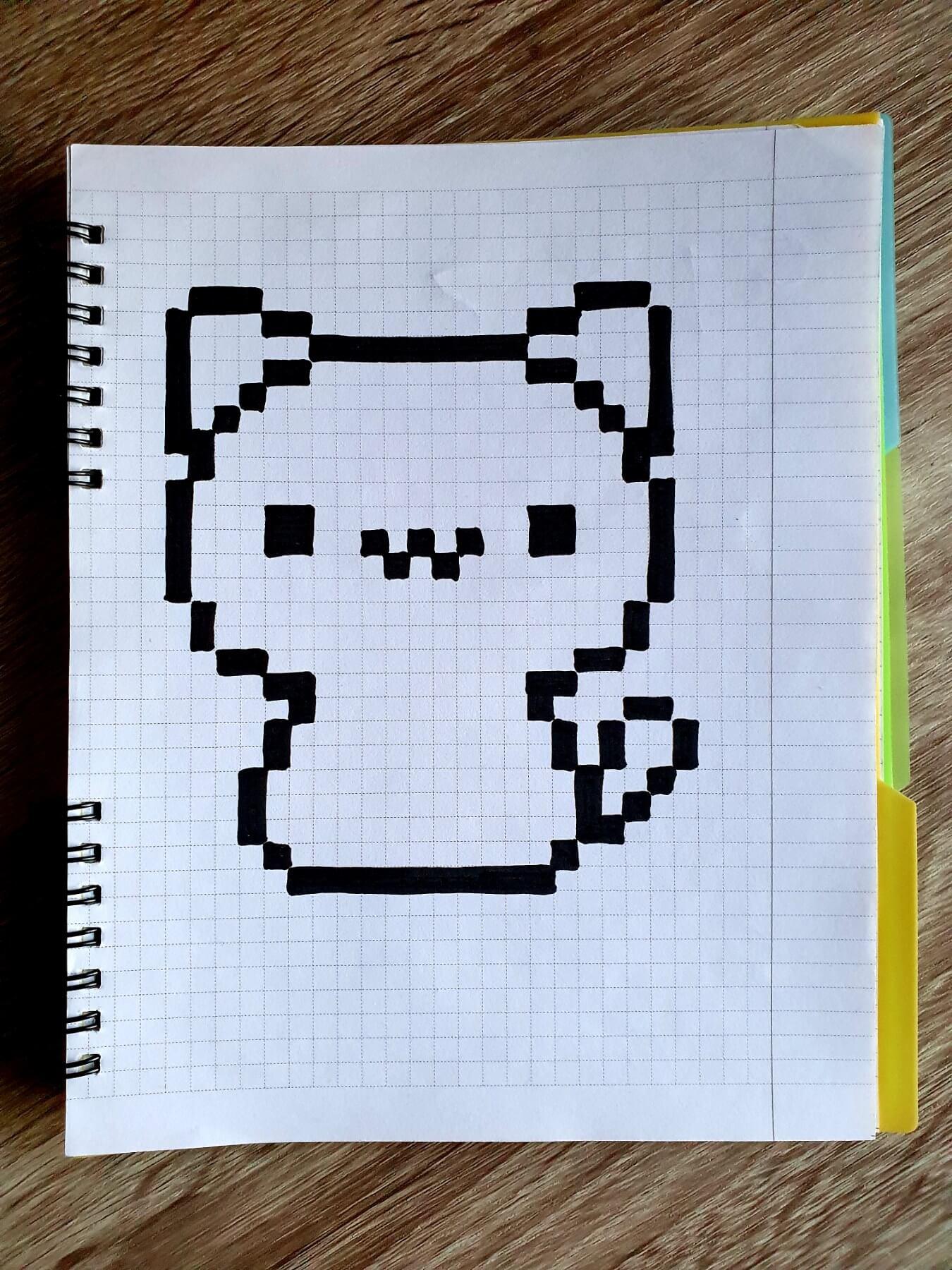 котик, drawings on cells, drawings by cells, pixel art, pixel drawings