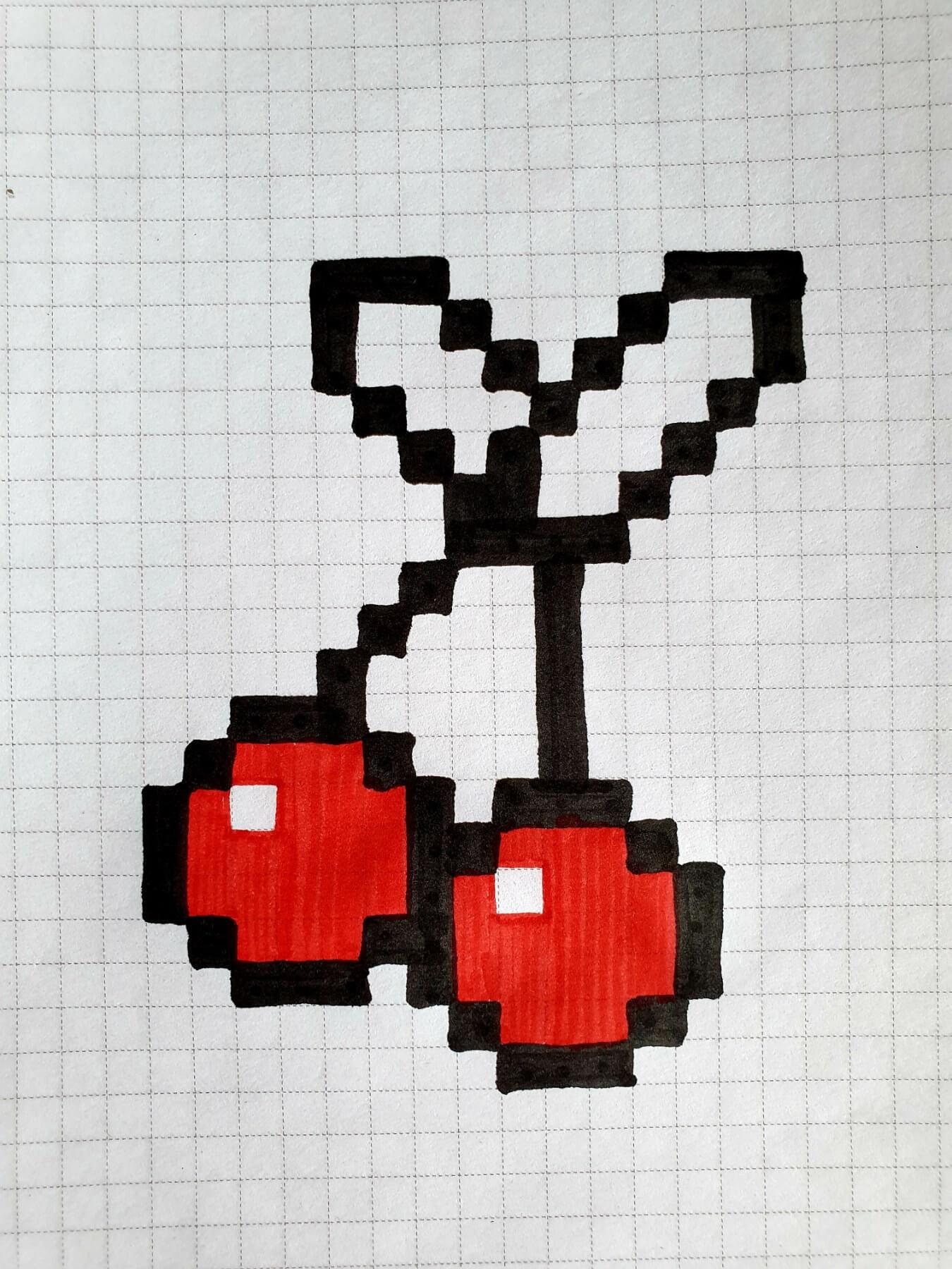 вишня, drawings on cells, drawings by cells, pixel art, pixel drawings