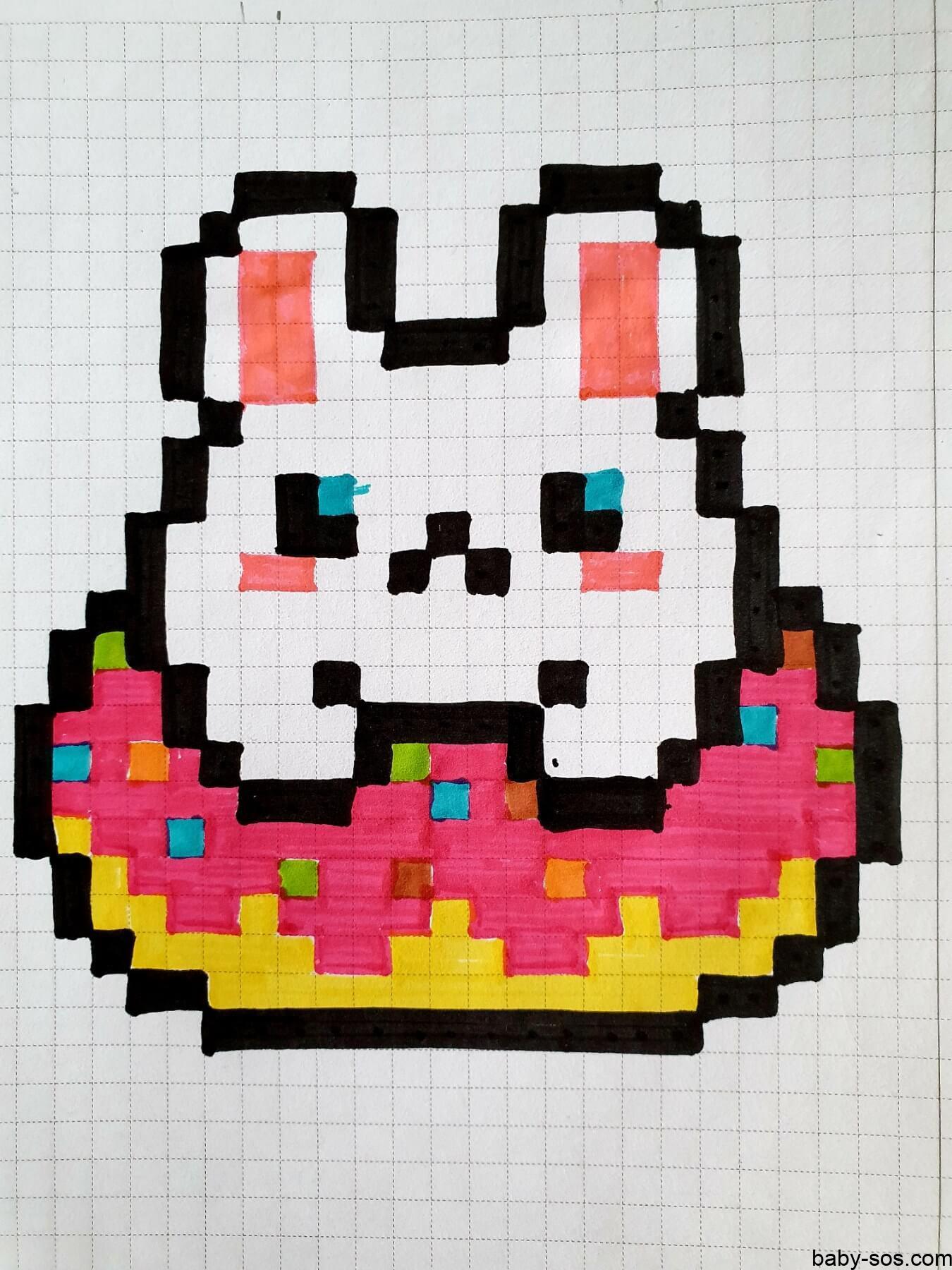 hamster in donut, drawings on cells, drawings by cells, pixel art, pixel drawings