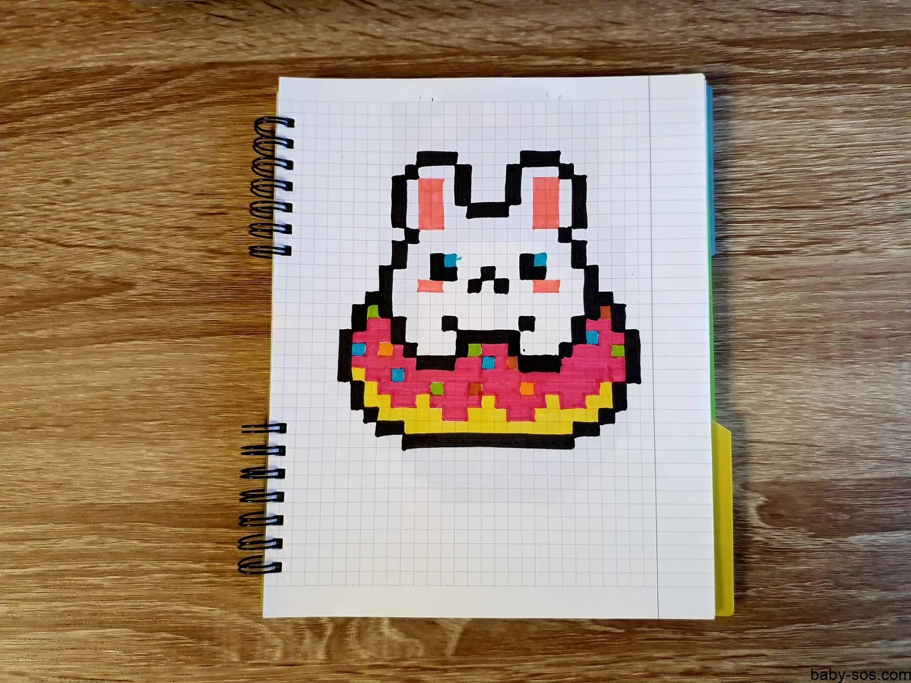 хомячок в пончику, малюнки по клiтинкам, рисунки по клеточкам, pixel art, писксельные рисунки