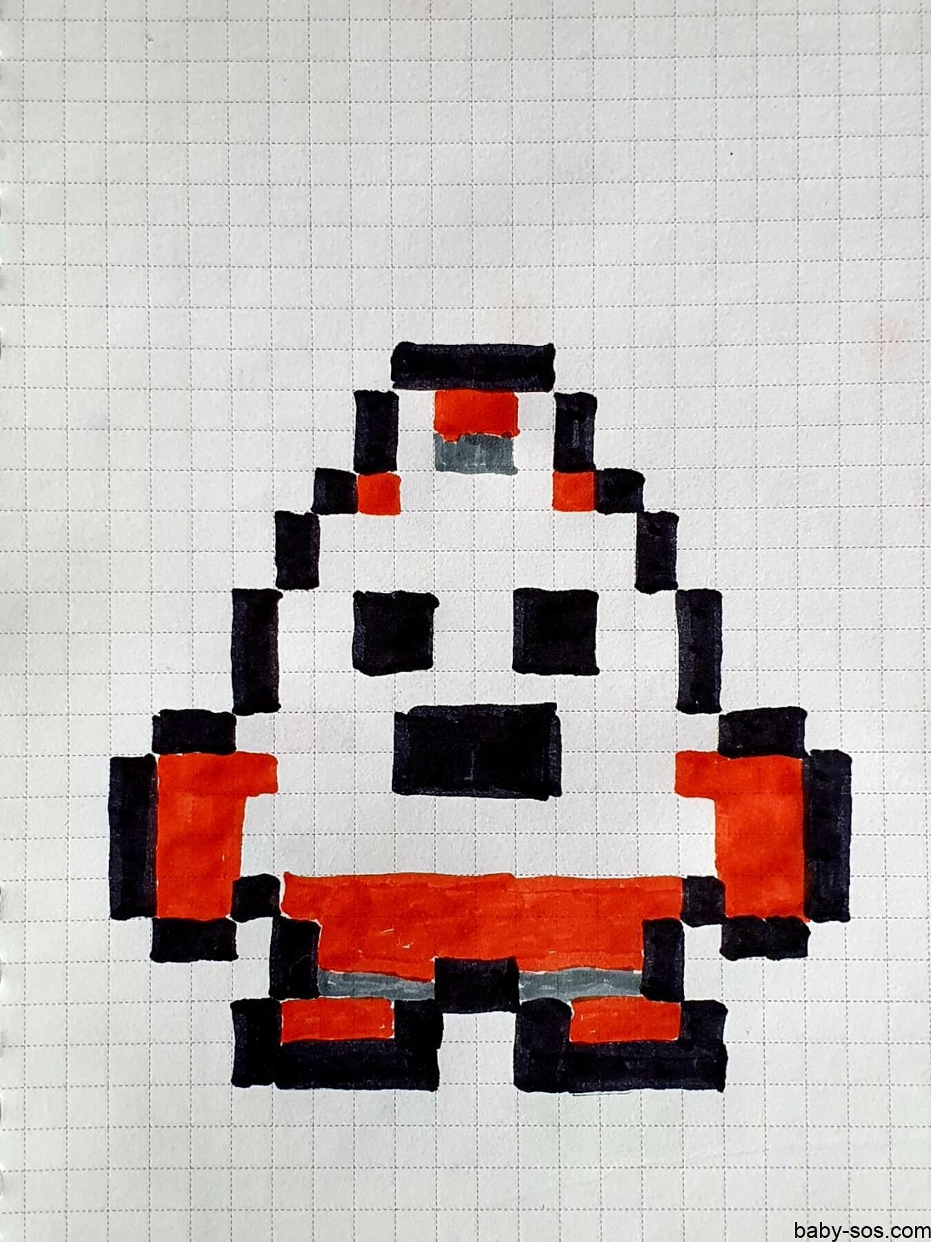 robo spike, brawl stars, малюнки по клiтинкам, рисунки по клеточкам, pixel art, писксельные рисунки